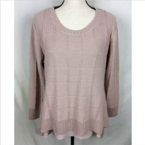 Simply Couture Wool Blend Sweater Faux Layered